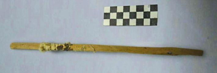 """Uma das """"varas higiénicas"""" encontradas na China, num sítio da Rota da Seda. A análise científica ..."""