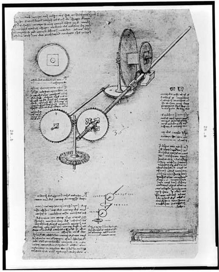 Página de diário de Leonardo Da Vinci que mostra a operação de uma asa mecânica (1894-1904)