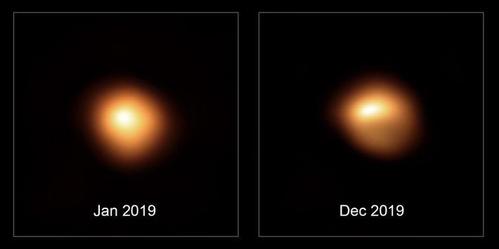 Esta imagem comparativa mostra a estrela Betelgeuse – antes e depois do seu desvanecimento sem precedentes. ...