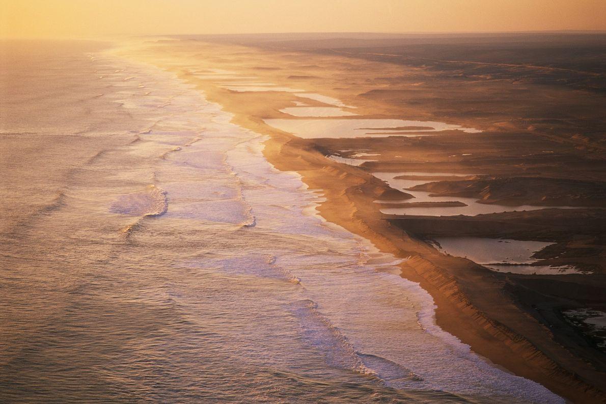As pessoas esquadrinharam a Costa dos Esqueletos na Namíbia.