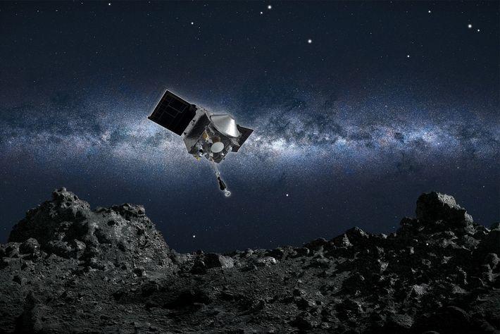 Uma ilustração artística da sonda OSIRIS-REx da NASA prestes a recolher uma amostra do asteroide Bennu.