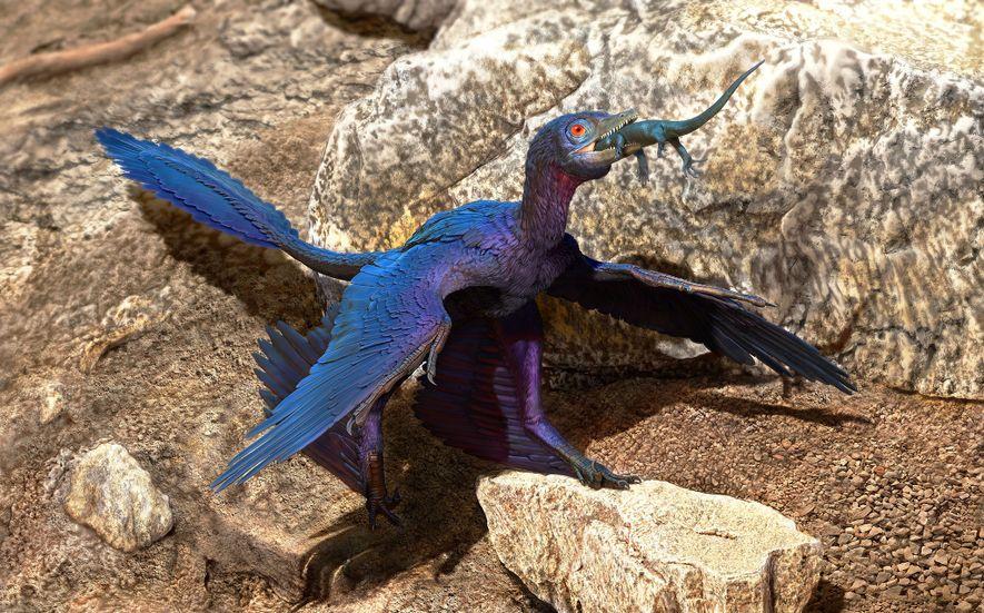 Há mais de 120 milhões de anos, onde atualmente fica o nordeste da China, um dinossauro ...