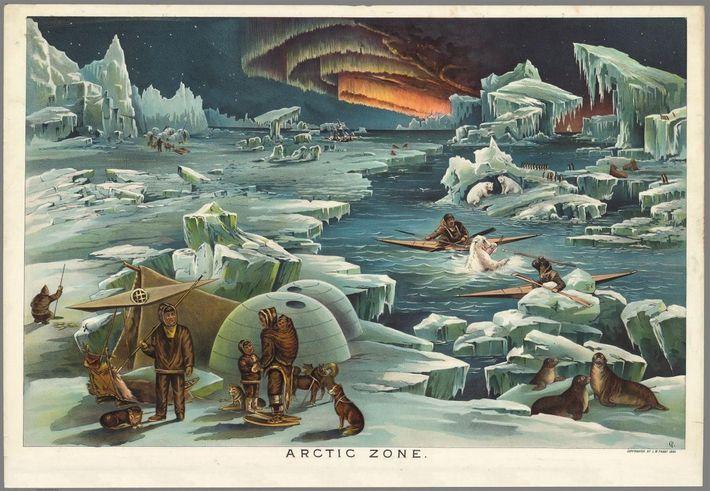 Elementos do povo inuit em caiaques atingem com uma lança um urso polar.