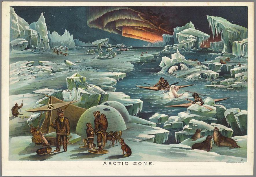 Elementos do povo inuit em caiaques atingem com uma lança um urso polar, sob as Luzes do Norte, nesta ilustração da região do Ártico que integrava o mesmo kit.