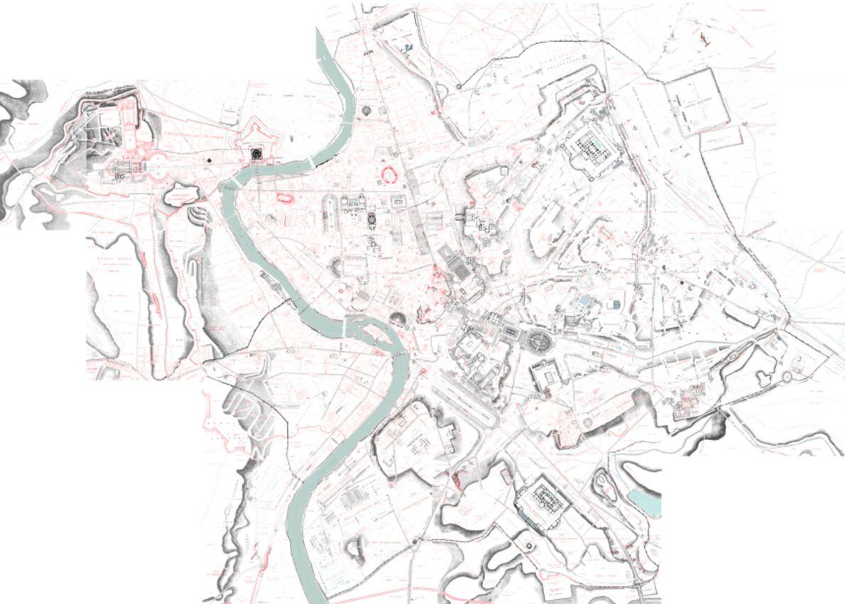 Assemblagem de todos os fragmentos do mapa digitalizados