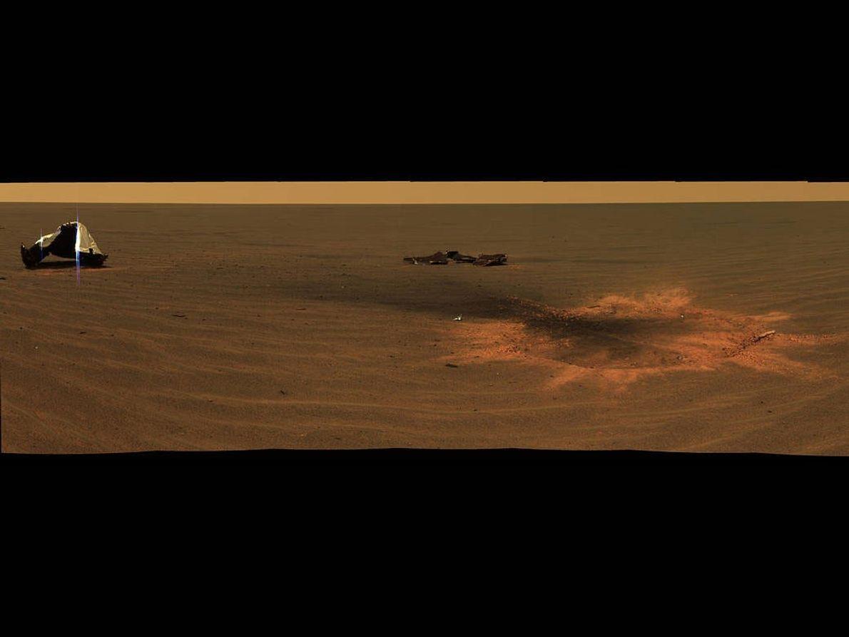 O local de impacto em Marte do escudo térmico da sonda.