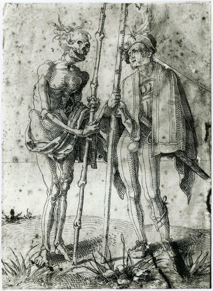 Um desenho do século XVI feito por Hand Baldung Grien retrata um mercenário alemão a falar ...