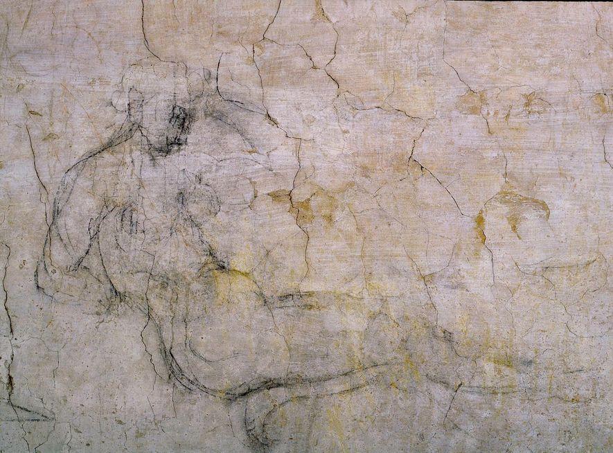 EM REPOUSO Um dos desenhos do quarto parece ser uma imagem em espelho de um desenho de Michelangelo onde figura Leda e o cisne, uma história popular da mitologia grega.