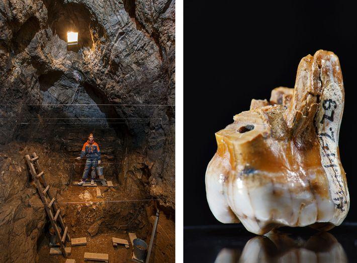 Esquerda: A caverna Denisova, mostrada aqui, é o único lugar do mundo onde até agora foram ...
