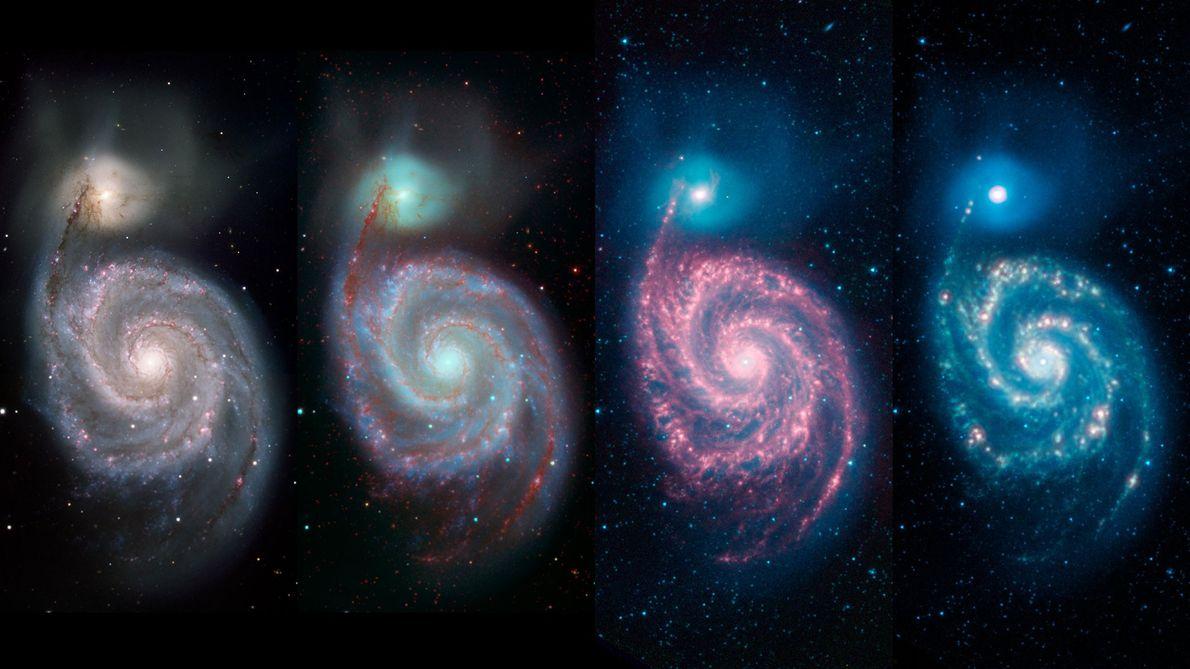 Dependendo do comprimento de onda utilizado, podemos ver características diferentes da galáxia Whirlpool. A imagem da ...