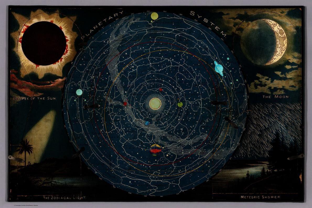 No canto superior esquerdo, surge ilustrado um eclipse solar, e no canto inferior direito, uma chuva ...