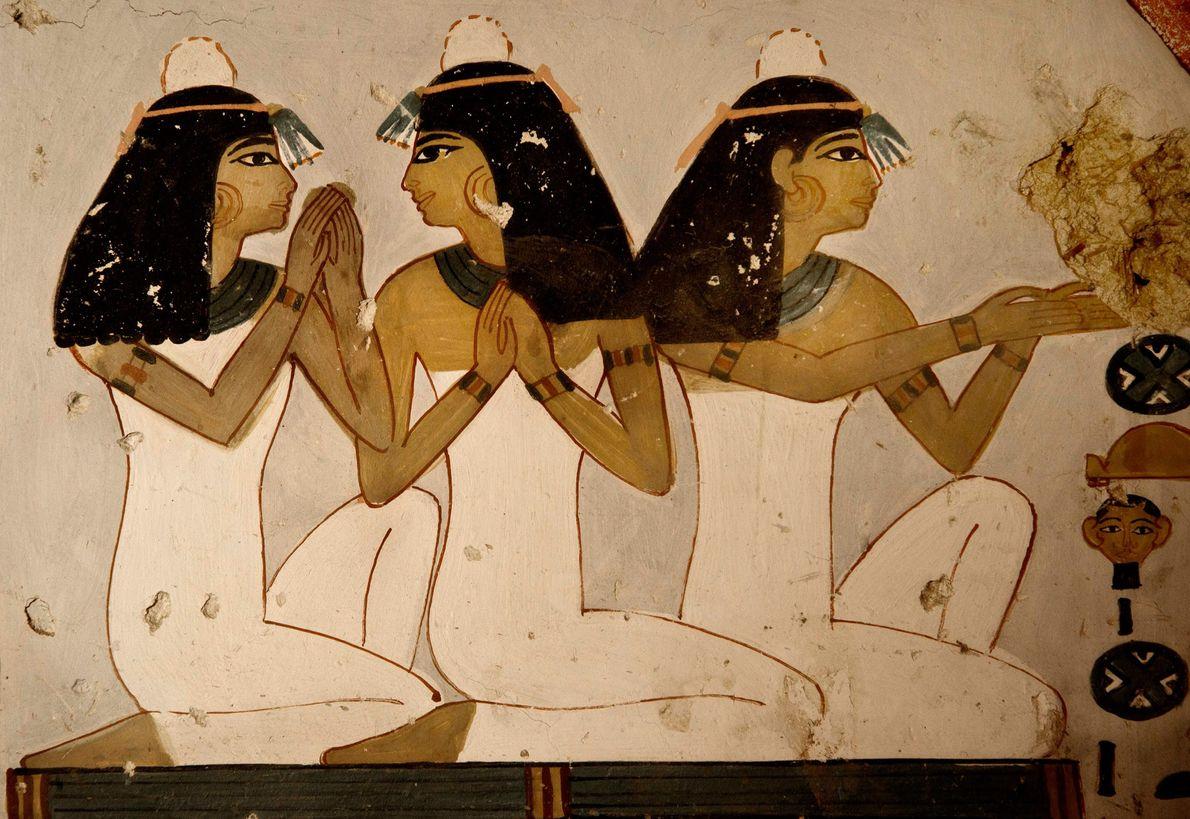 Mural no antigo túmulo egípcio conhecido como Kampp 161