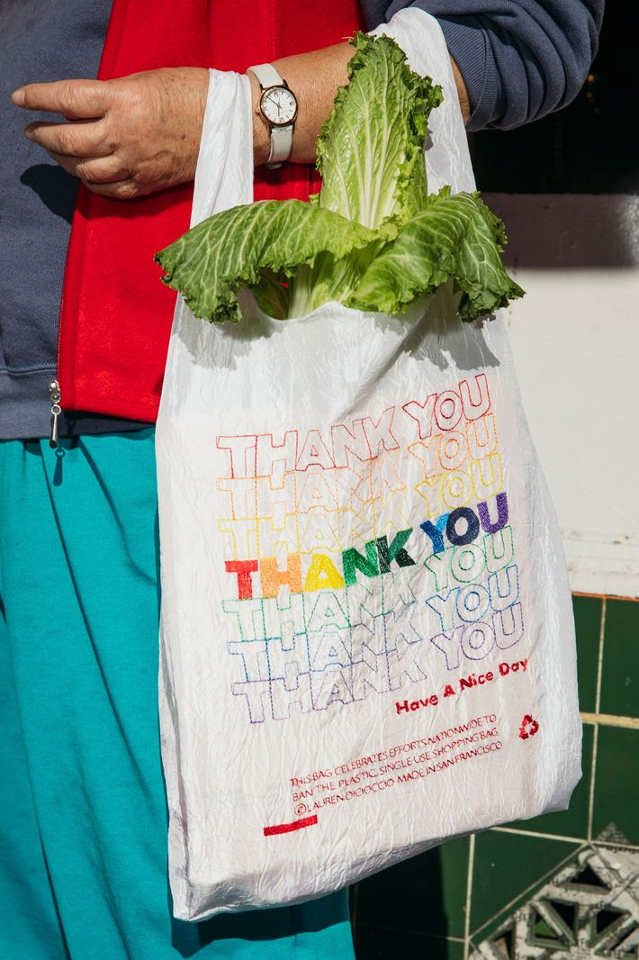 Versão reutilizável 'thank you bags', São Francisco