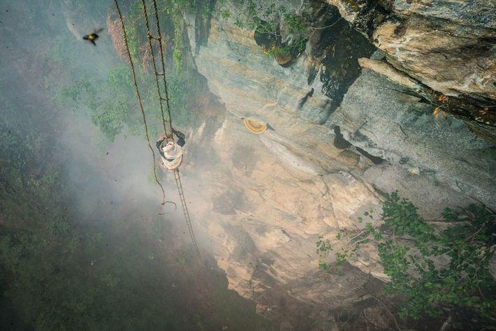Mauli Dhan sobre alguns metros numa escada feita com bambu