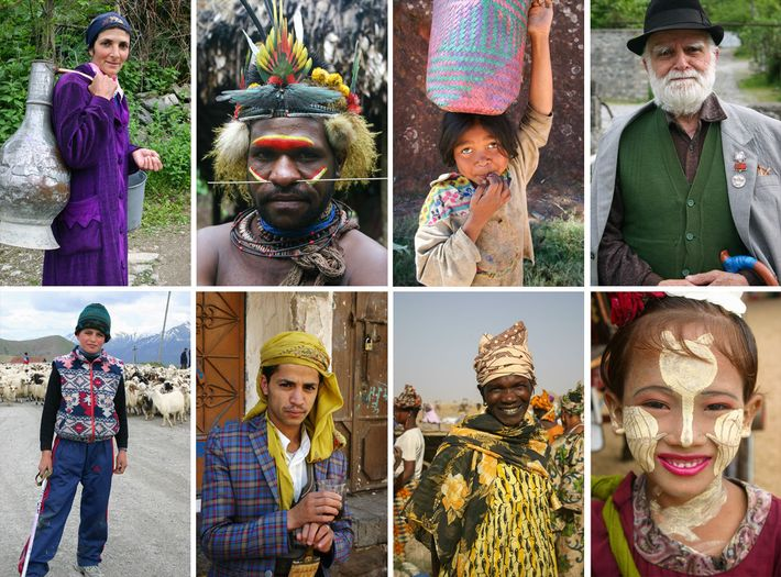 Fotografia de várias pessoas de diferentes países das viagens de Albert Podell