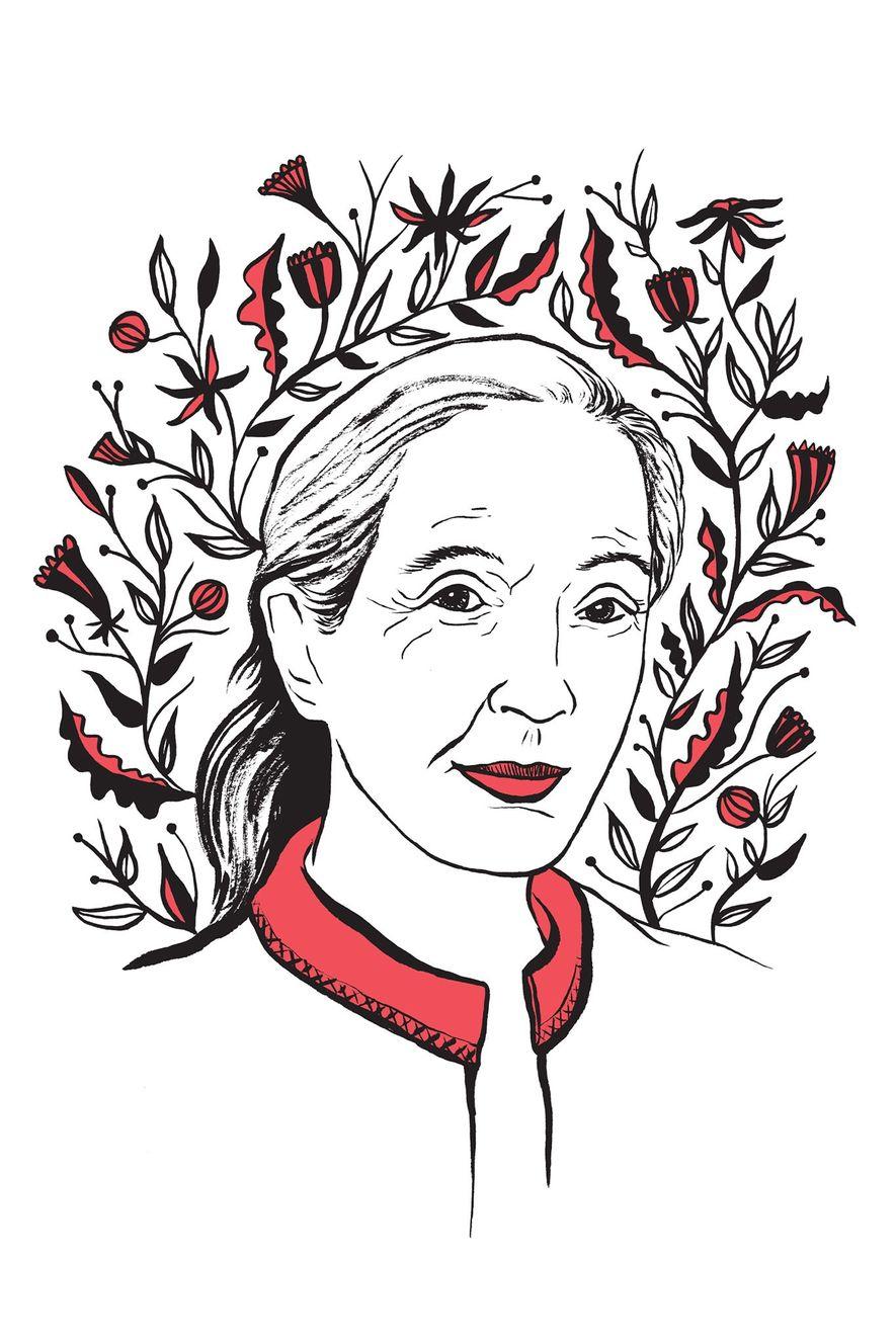 """Ilustração de Jane Goodall, feita por Kimberly Glyder, para o livro """"In Praise of Difficult Women""""."""