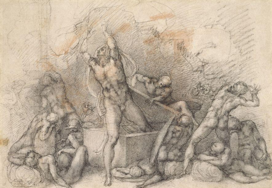 O desenho a giz, feito mais tarde, da Ressurreição de Cristo.