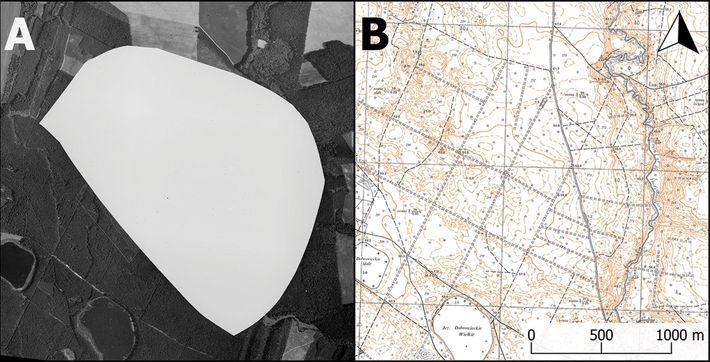 Base militar nuclear em Podborsko e um mapa topográfico