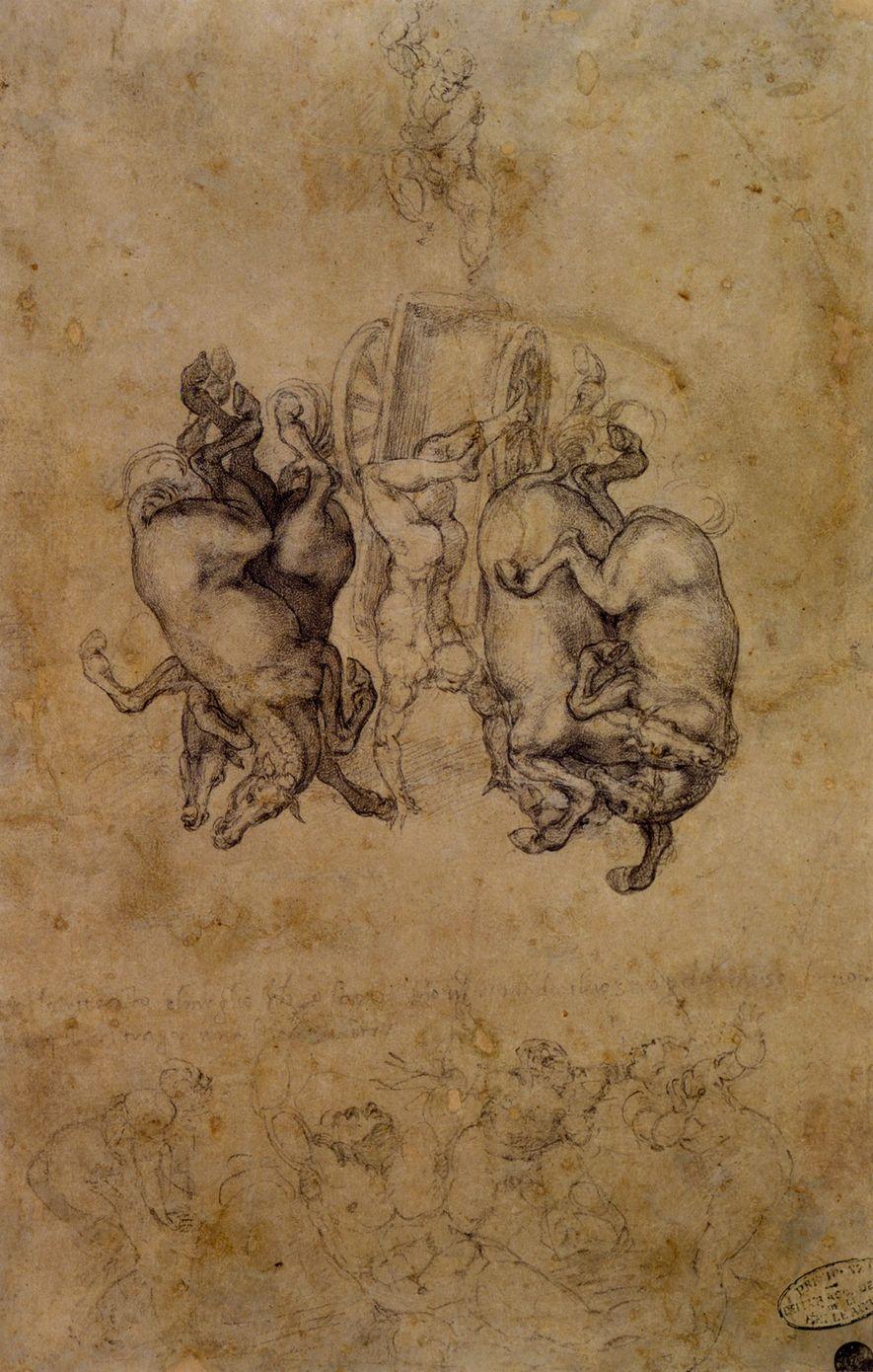 """OU A CAIR?  Os desenhos do quarto têm uma curiosa semelhança com a figura central deste esboço de Michelangelo para o quadro """"A queda de Phaeton""""."""