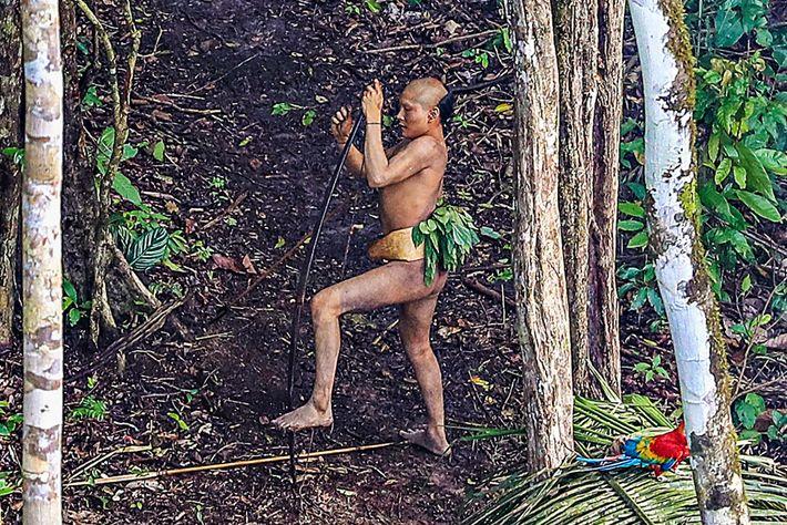 Imagem de um membro de uma tribo na Amazónia