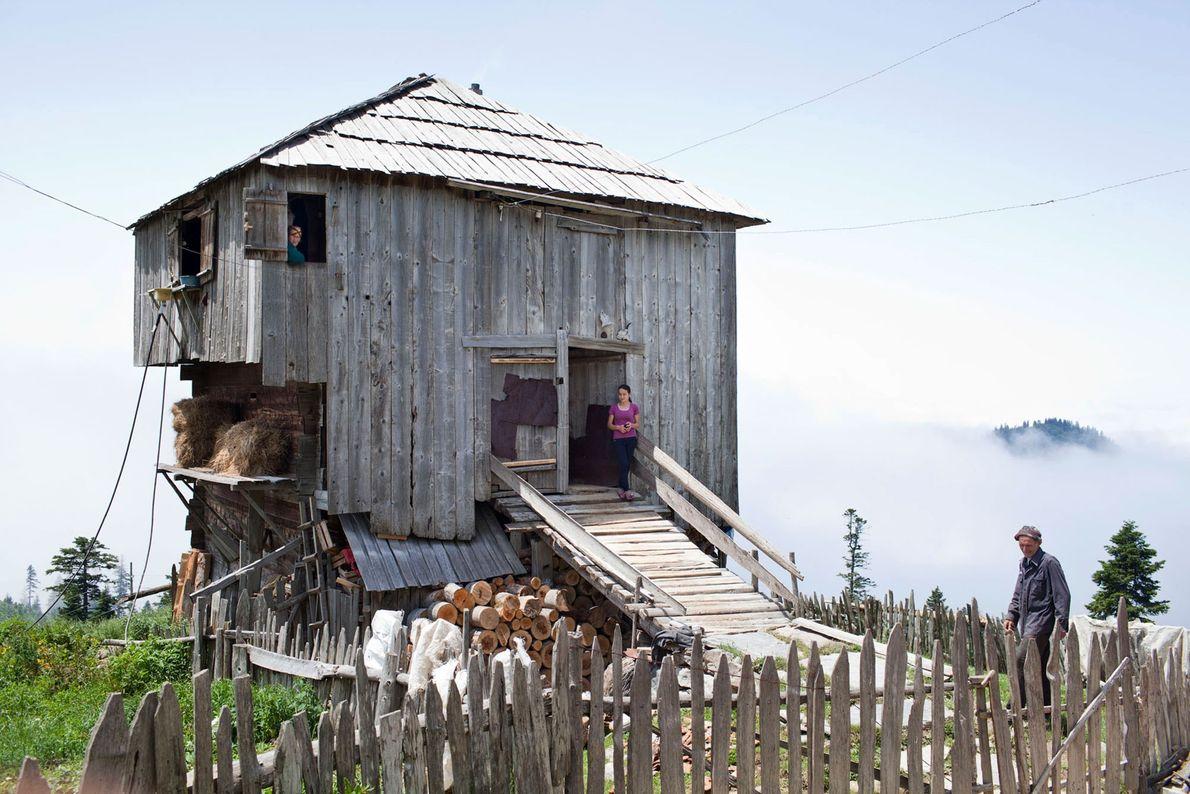 Imagem de uma casa de madeira numa quinta na Georgia