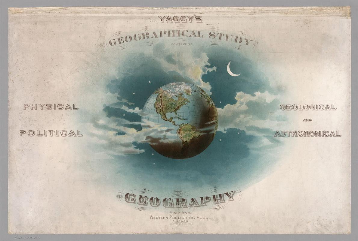 A Terra aparece entre as nuvens na página de rosto da edição de 1887 do Estudo ...