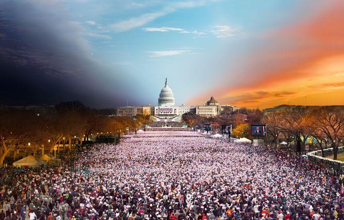 A montagem fotográfica de Stephen Wilkes da posse do presidente Barack Obama em 2013 capta o ...