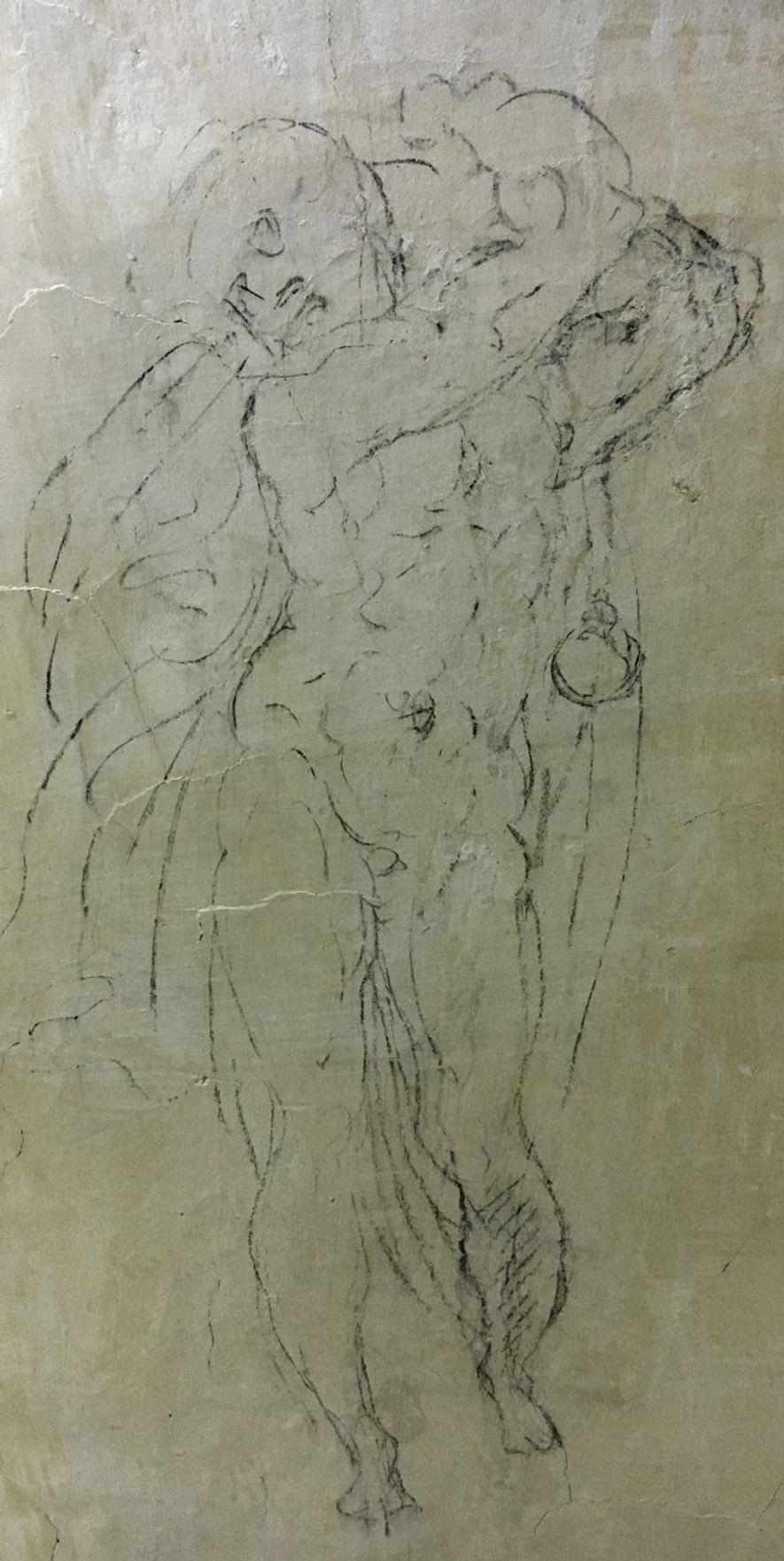 TRANSFORMADOS EM PEDRA  Estes desenhos evocam a pose distinta da estátua de Apolo, um trabalho inacabado atribuído a Michelangelo.