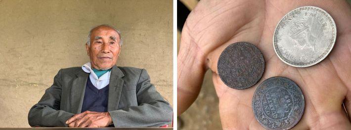 Esquerda: Chilannang Bariam, 87 anos, recorda a violência da Segunda Guerra Mundial que atingiu Haochong, a ...
