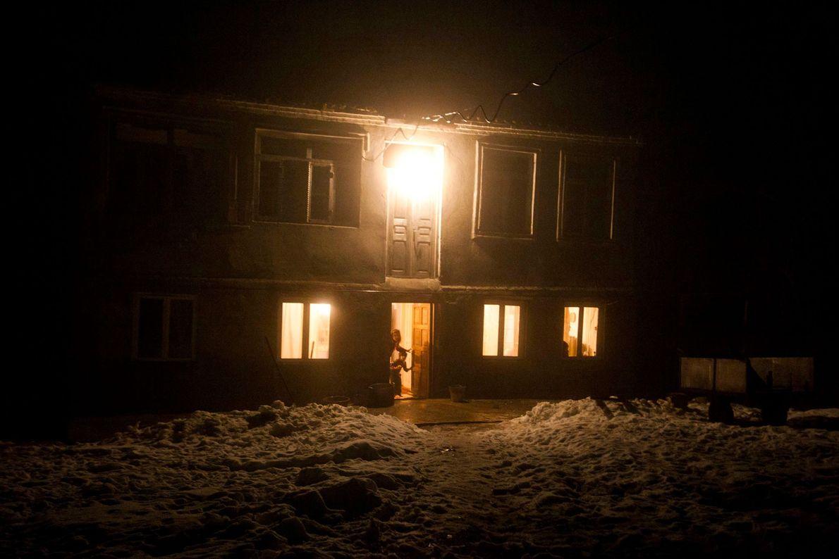 Casa de mineiros nas montanhas