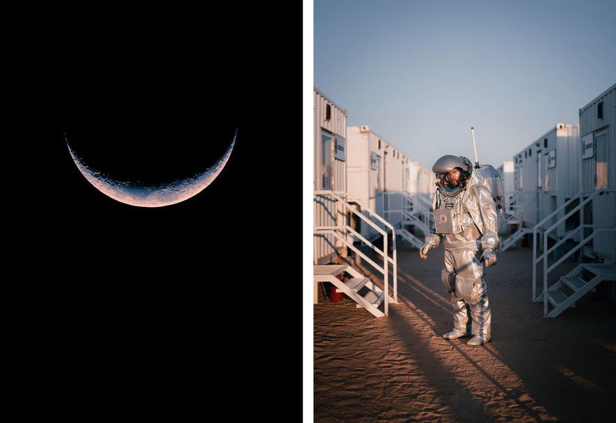 Esquerda: Uma lua crescente paira sobre a Estação Kepler. Direita: O astronauta análogo João Lousada caminha ...