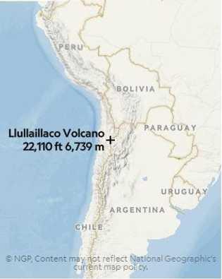 Localização do VulcãoLlullaillaco.
