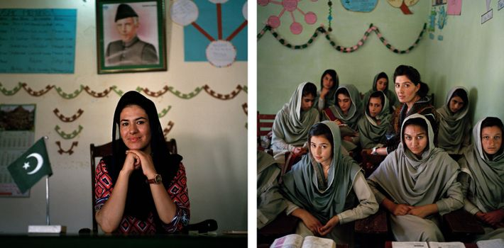 Diretora da Outliers Girls School em Minawar e Nadia Khan, professora ismaelita de 23 anos