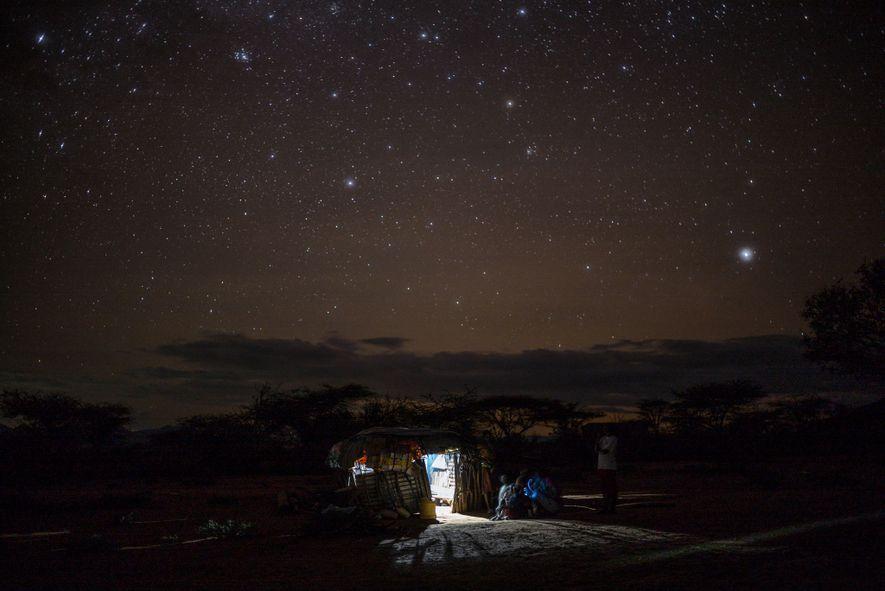 Aldeia Samburu à noite
