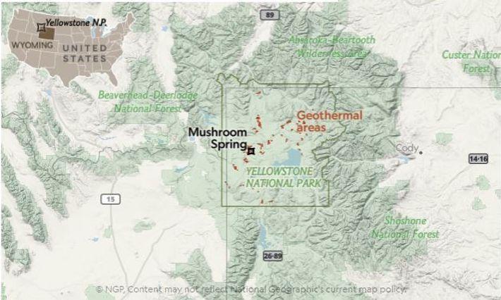Localização de Mushroom Spring em Yellowstone