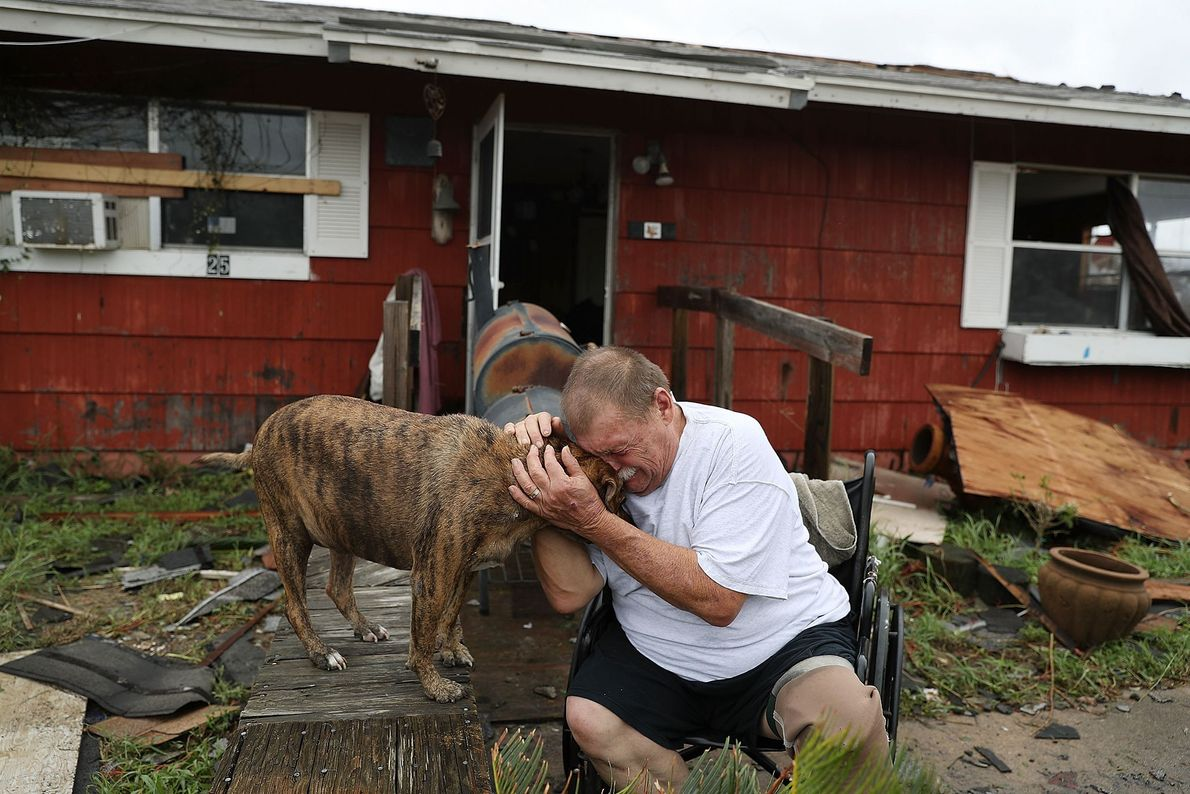 Steve Culver chora junto do seu cão