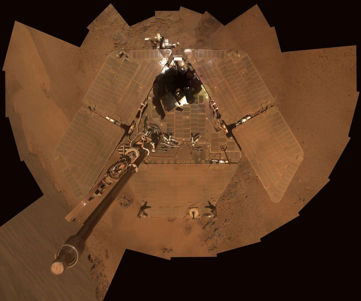 A acumulação de pó nos painéis solares de uma sonda.