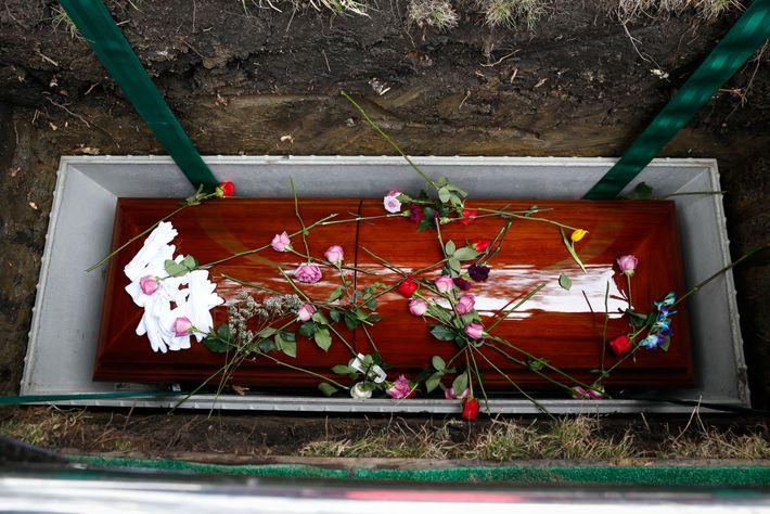 Familiares depositaram rosas, a flor preferida de Lola, sobre o seu caixão.