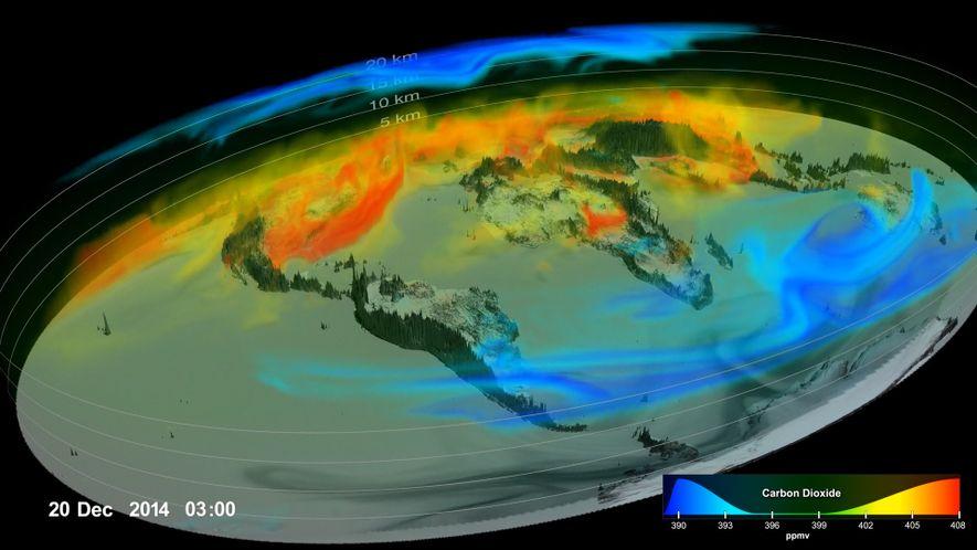 Veja imagens incríveis de como o aquecimento do dióxido de carbono do planeta se movimenta na atmosfera da Terra