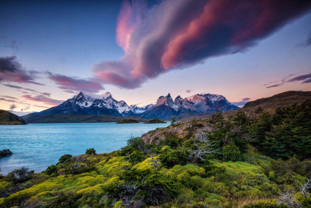 Os Andes separam um céu rosa de uma paisagem verde