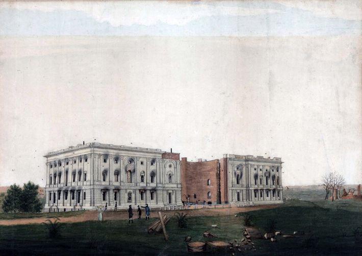 Durante a Guerra de 1812, enquanto ainda estava em construção, o edifício do Capitólio dos EUA ...