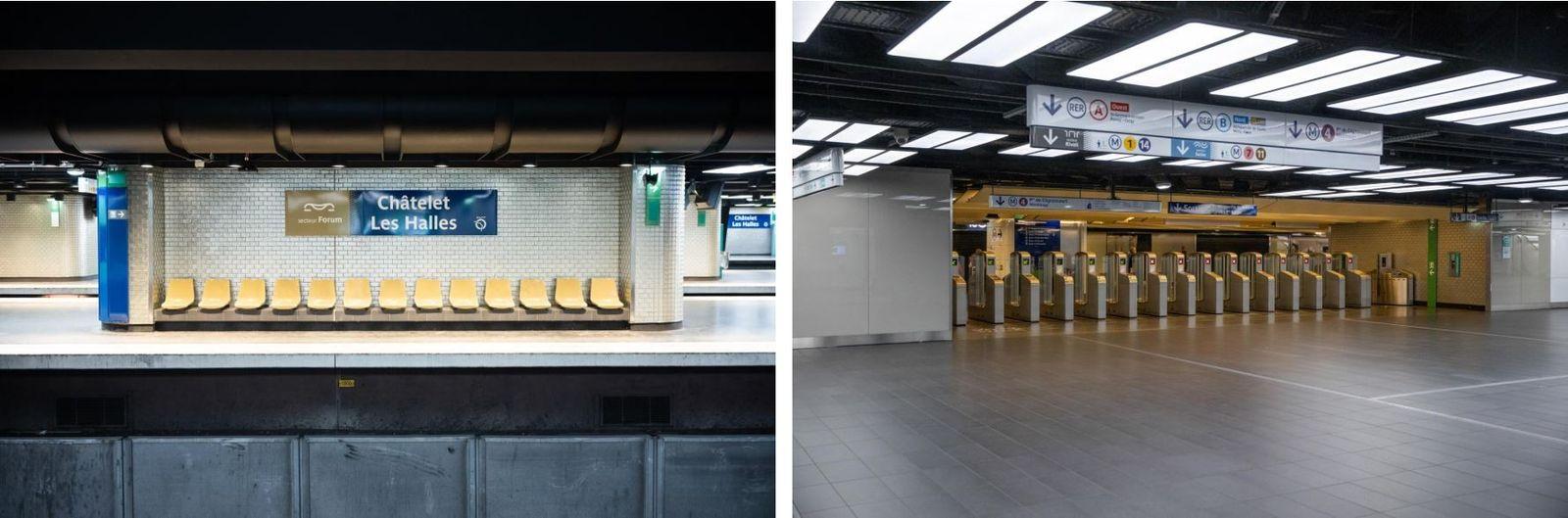 Esquerda: A estação de metro Châtelet-Les Halles, no coração de Paris, é a maior estação de ...