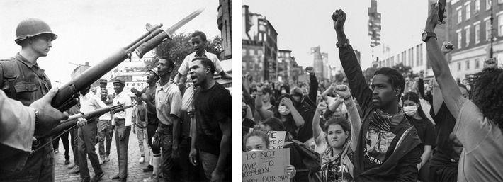 Esquerda: Em julho de 1967, o espancamento de um taxista negro às mãos de polícias brancos ...