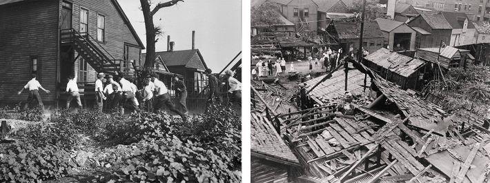 Esquerda: O Motim Racial de Chicago de 1919 foi um dos mais devastadores do Verão Vermelho. ...