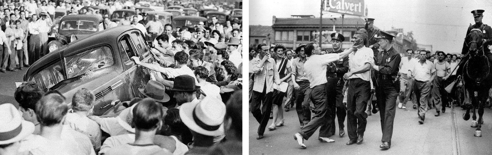 Esquerda: No dia 21 de junho de 1943, uma multidão de brancos revoltou-se e provocou distúrbios. ...