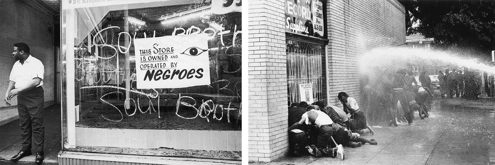 Esquerda: Em julho de 1967, durante os Motins Raciais de Newark, os empresários afro-americanos, como o ...