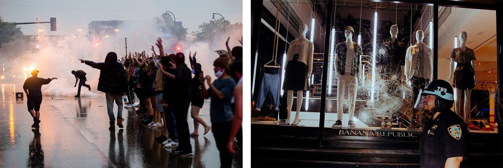 Esquerda: Em Minneapolis, pouco depois da morte de Floyd, a polícia disparou gás lacrimogéneo contra os ...