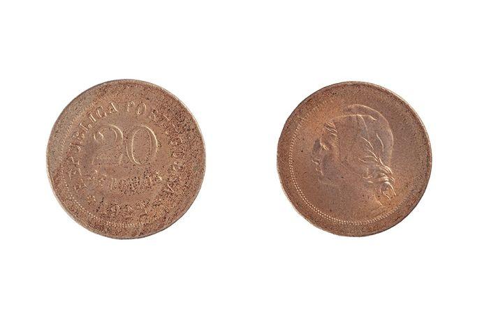 Moeda de 20 centavos do ano 1922 (INCM/MCM 15530).