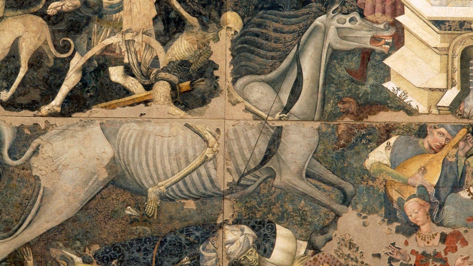 """Um fresco italiano do século XV, de um pintor anónimo, representa """"O Triunfo da Morte"""". As ..."""