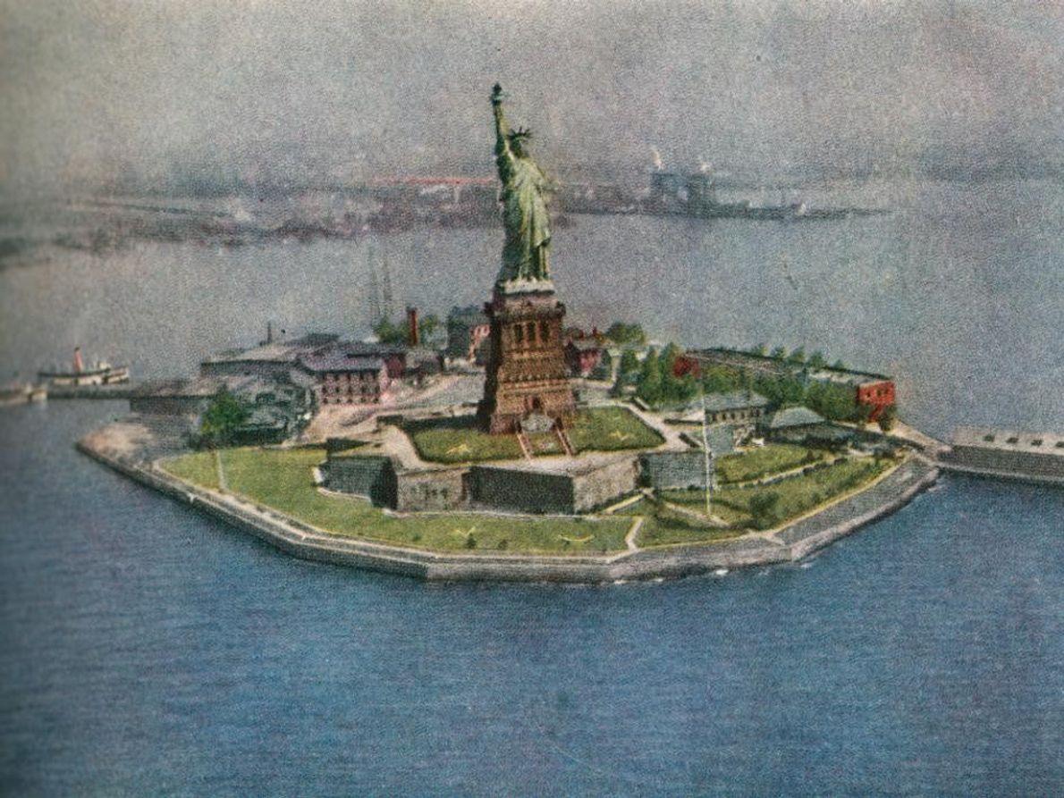 Imagem aérea da Estátua da Liberdade
